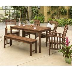 Acacia Wood Classic Patio 6-Piece Dining Set - Dark Brown