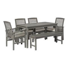 6-Piece Simple Outdoor Patio Dining Set - Grey Wash