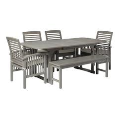 6-Piece Classic Outdoor Patio Dining Set - Grey Wash