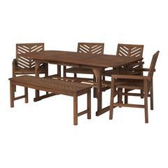 6-Piece Extendable Outdoor Patio Dining Set - Dark Brown