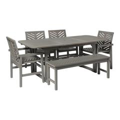6-Piece Extendable Outdoor Patio Dining Set - Grey Wash