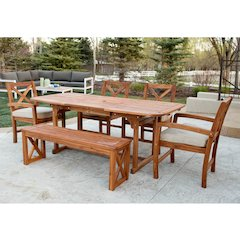 6-Piece X-Back Acacia Patio Dining Set with Cushions