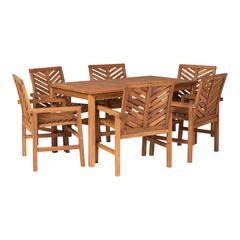 7-Piece Chevron Outdoor Patio Dining Set - Brown