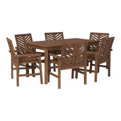 7-Piece Chevron Outdoor Patio Dining Set - Dark Brown