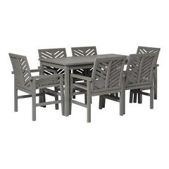 7-Piece Chevron Outdoor Patio Dining Set - Grey Wash