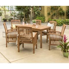 Acacia Wood Classic Patio 7-Piece Dining Set - Brown