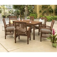Acacia Wood Classic Patio 7-Piece Dining Set - Dark Brown