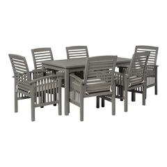 7-Piece Simple Outdoor Patio Dining Set - Grey Wash