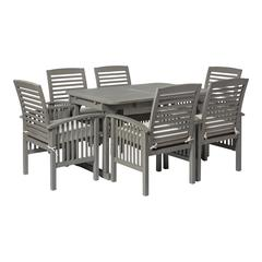7-Piece Classic Outdoor Patio Dining Set - Grey Wash