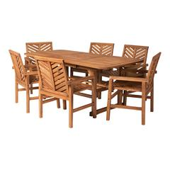 7-Piece Extendable Outdoor Patio Dining Set - Brown