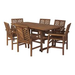 7-Piece Extendable Outdoor Patio Dining Set - Dark Brown