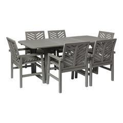 7-Piece Extendable Outdoor Patio Dining Set - Grey Wash
