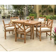 Acacia Wood X-Back Classic Patio 7-Piece Dining Set