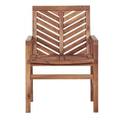 Solid Acacia Wood Chevron Outdoor Chair, 2pk - Brown