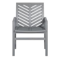Outdoor Chevron Chair, set of 2 - Grey Wash
