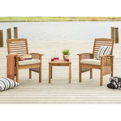 Acacia Wood 3 Piece Chat Group - Brown