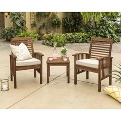 Acacia Wood 3 Piece Chat Group - Dark Brown
