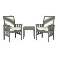 3-Piece Classic Outdoor Patio Chat Set - Grey Wash