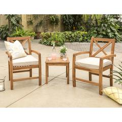 Acacia Wood 3 Piece X-Back Chat Group - Dark Brown