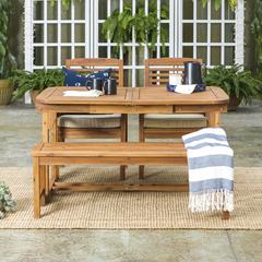 4-Piece Patio Dining Table Set - Brown