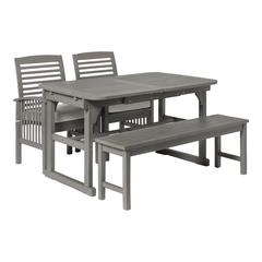 4-Piece Classic Outdoor Patio Dining Set - Grey Wash