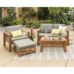 Hudson Collection 4 Piece Outdoor Patio Chat Set - Grey/Brown