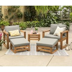 Hudson Collection 5 Piece Outdoor Patio Chat Set - Grey/Brown