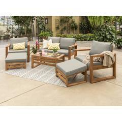 Hudson Collection 6 Piece Outdoor Patio Chat Set - Grey/Brown