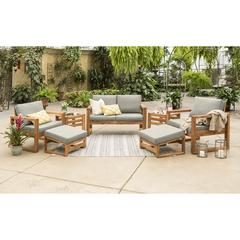 Hudson Collection 7 Piece Outdoor Patio Chat Set - Grey/Brown