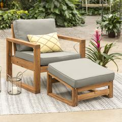 Hudson Collection Side Chair and Ottoman Set with Cushions - Grey/Brown