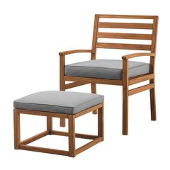 Acacia Wood Outdoor Patio Chair & Pull Out Ottoman - Brown/Grey