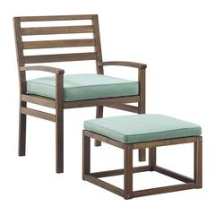 Acacia Wood Outdoor Patio Chair & Pull Out Ottoman - Dark Brown/Blue