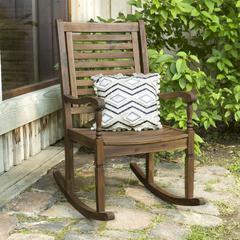 Solid Acacia Wood Rocking Patio Chair, Dark Brown