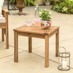 "20"" Wood Patio Classic Side Table - Brown"