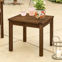 "20"" Wood Patio Classic Side Table - Dark Brown"