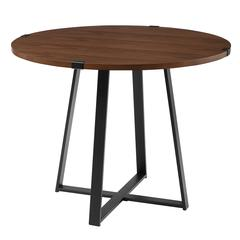 "40"" Round Metal Wrap Dining Table - Dark Walnut / Black"
