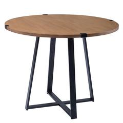 "40"" Round Metal Wrap Dining Table - English Oak / Black"