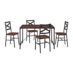 5-Piece Angle Iron Dining Set w/X Back Chairs- Dark Walnut