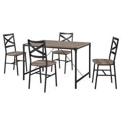 5-Piece Angle Iron Dining Set w/X Back Chairs - Grey Wash
