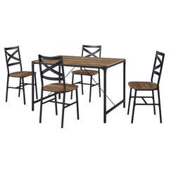 5-Piece Angle Iron Dining Set w/X Back Chairs - Reclaimed Barnwood