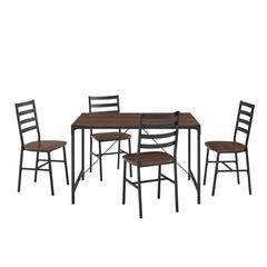 5-Piece Industrial Angle Iron Dining Set - Dark Walnut