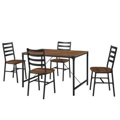 5-Piece Industrial Angle Iron Dining Set - Reclaimed Barnwood