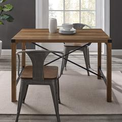 "48"" Metal X Dining Table - Rustic Oak"