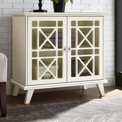 "32"" Gwen Fretwork Accent Console - Antique White"
