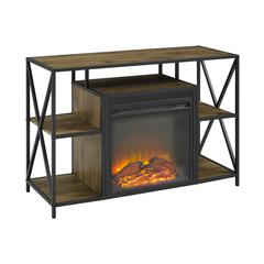 """40"""" Rustic Electric Fireplace X-Frame TV Stand - Barnwood"""