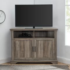 "44"" Grooved Door Corner TV Console - Grey Wash"