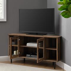 """48"""" Simple Glass Door Corner TV Console - Reclaimed Barnwood"""