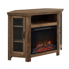 "48"" Wood Corner Fireplace Media  TV Stand Console  - Rustic Oak"