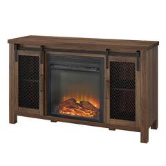 "48"" Sliding Mesh Door Fireplace Console - Dark Walnut"