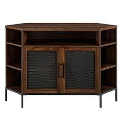 "48"" Industrial Mesh Door Corner TV Console - Dark Walnut"